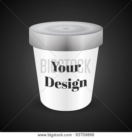 White Food Plastic Tub Bucket Container For Dessert, Yogurt, Ice Cream, Sour Sream Or Snack