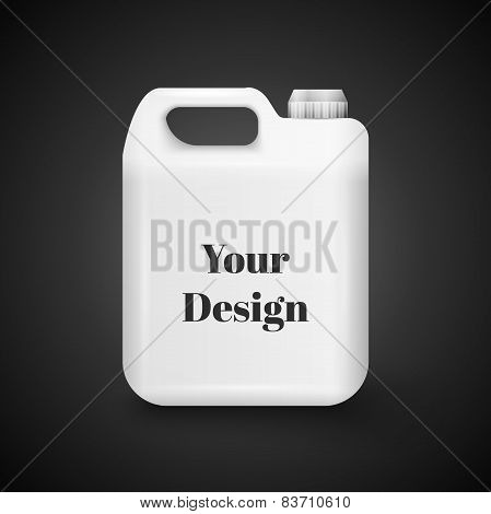 Plastic Jerrycan Oil, Cleanser, Detergent, Abstergent, Liquid Soap, Milk, Juice On White Background