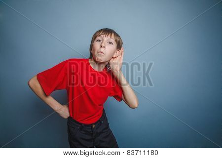 Boy, teenager, twelve years old, in a red shirt, holding a hand