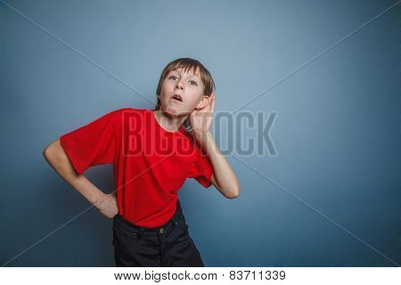 Boy, teenager, twelve  old years , in a red shirt, holding a han
