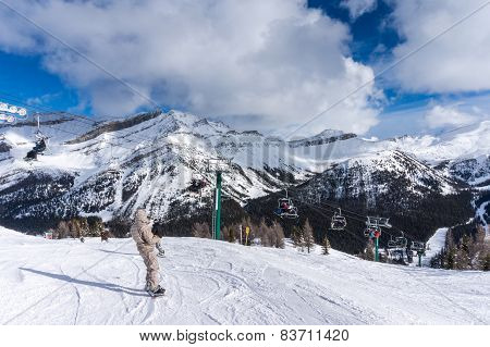 Skiing And Snowboarding At Lake Louise in Banff, Canada