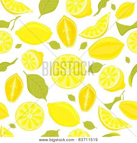 Seamless Pattern Of Different Vector Lemons