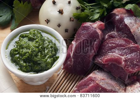Ingredients For Boiled Meat With Green Sauce