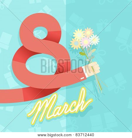 8 march. international women's day. Man hand holding bouquet of  flowers. Vector card. Gifts