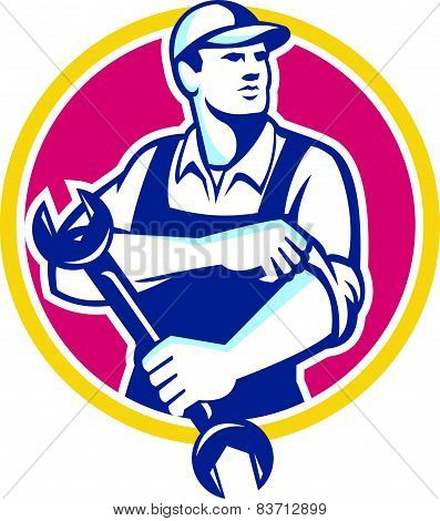 Mechanic Holding Spanner Rolling Sleeve Retro