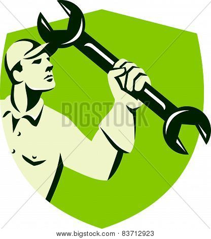 Mechanic Wielding Spanner Wrench Shield Retro