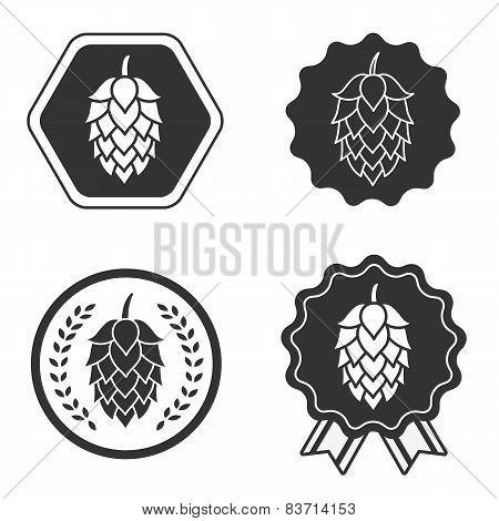Hop craft beer sign symbol label