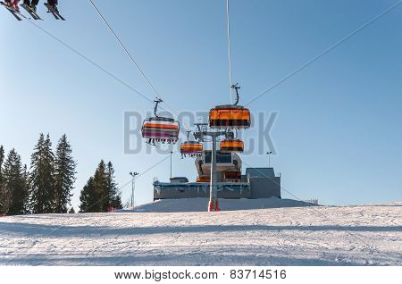 Ski Slope And Modern Chair Ski Lift