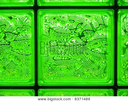 Abstract Of A Green-tone Glass Block Window