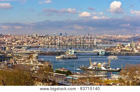 View Of Istanbul Over The Golden Horn Inlet - Turkey