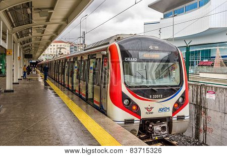 Istanbul, Turkey - January 6: Hyundai Rotem Train At Airilikcesmesi Station, Marmaray Line On Januar