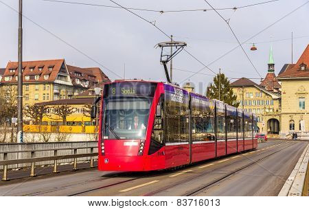 Bern, Switzerland - February 15: Siemens Combino Tram On Kirchenfeldbrucke In Bern On February 15, 2