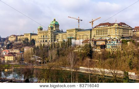 View Of The Federal Palace Of Switzerland (bundeshaus) In Bern