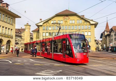 Bern, Switzerland - February 15: Siemens Combino Tram On Casinoplatz In Bern On February 15, 2015. T