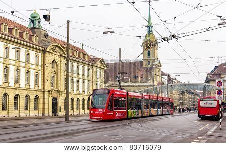Bern, Switzerland - February 15: Siemens Combino Tram On Bubenbergplatz In Bern On February 15, 2015