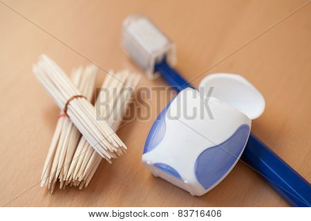 Toothpicks, Dental Floss And Toothbrush