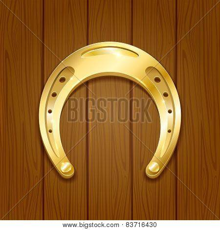 Horseshoe On Wooden Background