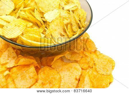 Different Potato Chips Closeup