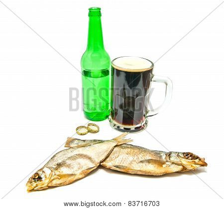 Salted Fishes And Glass Of Beer On White