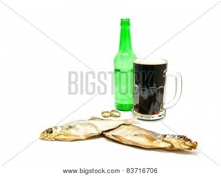 Glass Of Beer And Salted Fishes