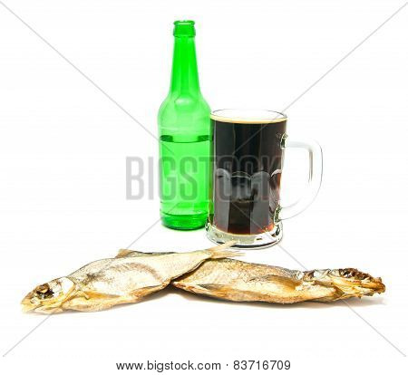 Glass Of Dark Beer And Salted Fishes
