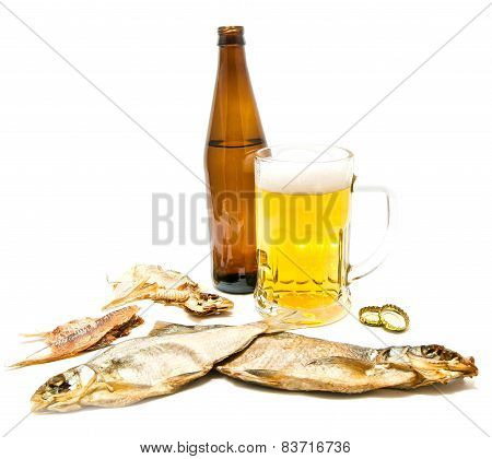 Salty Fishes And Glass Of Beer On White