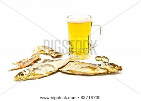 Salty Fishes And Glass Of Beer
