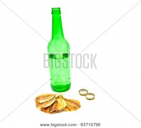 Bottle Of Beer And Fish Appetizer On White