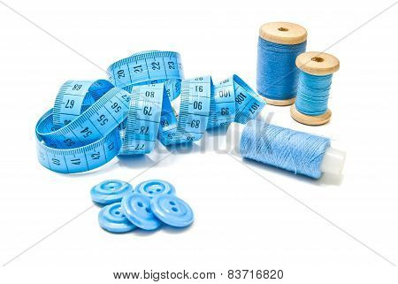 Spools Of Thread, Blue Buttons And Meter