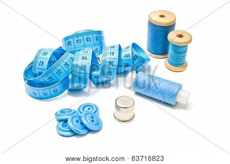 Spools Of Blue Thread, Buttons And Meter