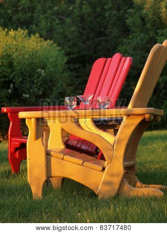 Adirondack Chairs and Wine Glasses