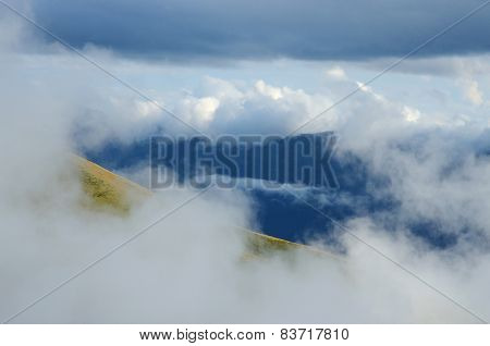 Beautiful Cloudscape In Caucasus Mountains During Famous Trekking Route To Medieval Ushguli Village