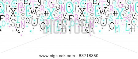 Colorful alphabet letters horizontal border seamless pattern background
