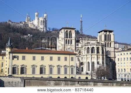Lyon, France - February, 19, 2015: Cathedral Saint-jean-baptiste And Saint-jean Library View From Sa