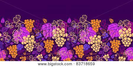 Sweet grape vines horizontal seamless pattern background border