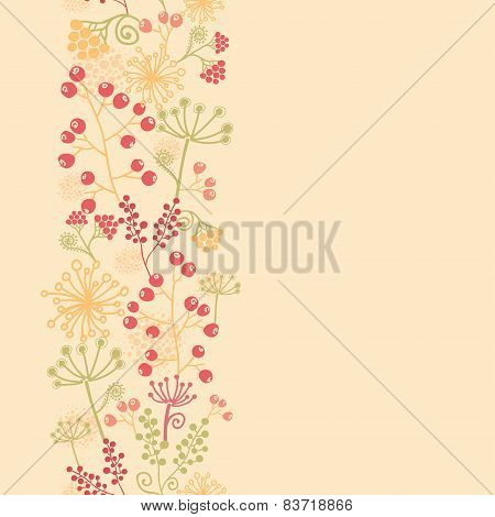 Summer berries vertical seamless pattern background border