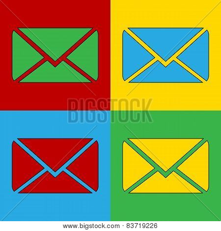 Pop Art Mail Simbol Icons.