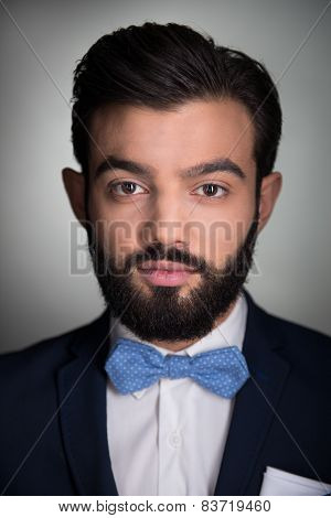 Handsome man with beard and bow tie looking at camera