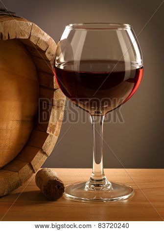 Red wine barell and glass