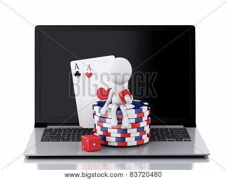 3d white person with laptop. Casino online games concept