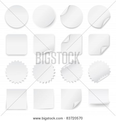 Set Of Blank White Labels With Rounded Corners In Different Shapes.