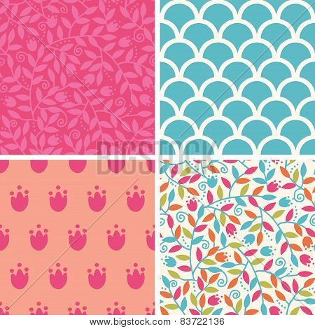 Vector colorful branches set of four matching repeating patterns