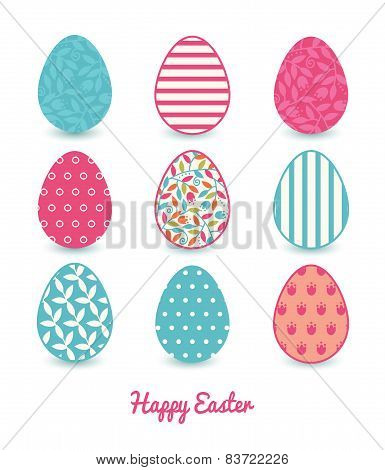 Vector colorful branches set of nine colorful Easter eggs card template