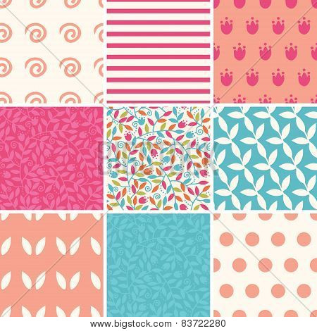 Vector colorful branches set of nine matching repeating patterns backgrounds
