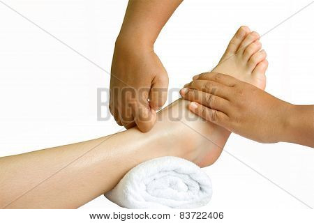 Foot massage, oil  spa foot  treatment in white background