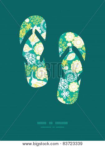 Vector emerald flowerals flip flops silhouettes pattern frame
