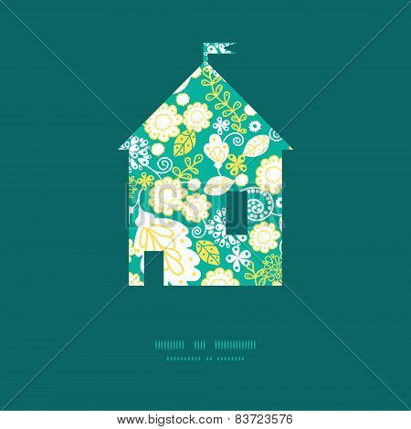Vector emerald flowerals house silhouette pattern frame