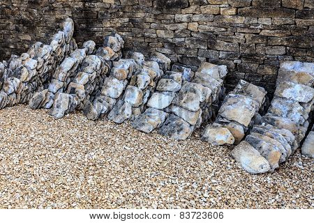 Stack Of Old Stone Roof Tiles Outdoor