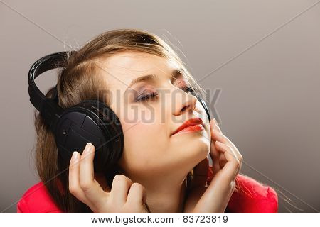 Technology, Music - Smiling Young Girl In Headphones