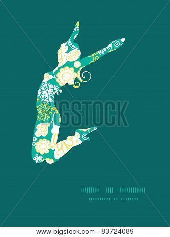 Vector emerald flowerals jumping girl silhouette pattern frame